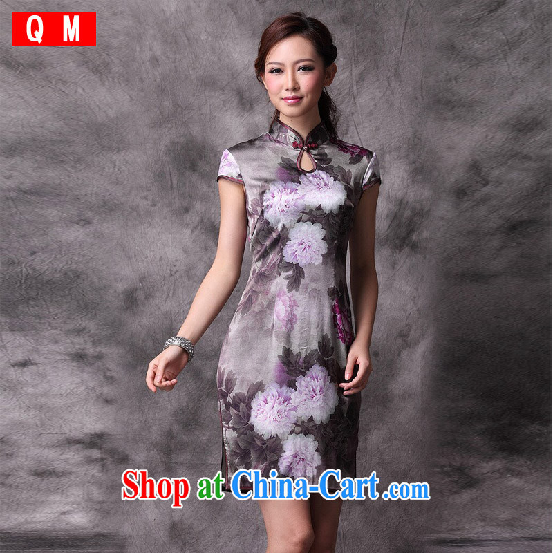 Shallow end (QM) retro Silk Cheongsam improved stylish summer dresses wedding dress uniform toast XWG picture color XXXL