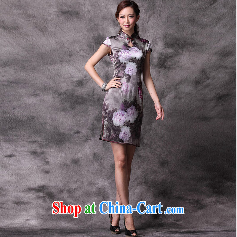 Light (at the end QM) retro Silk Cheongsam improved stylish summer dresses wedding dress uniform toast XWG picture color XXXL, light (at the end QM), shopping on the Internet