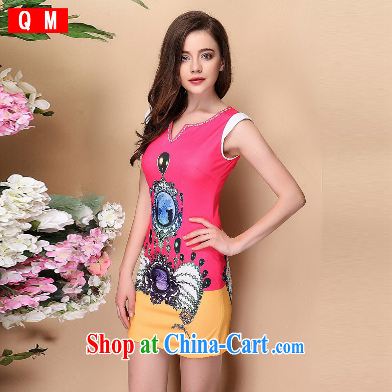 Shallow end (QM) Improved stylish short-sleeve stamp duty is not the Lao elegant qipao skirts XWGF 140,313 picture color XXL