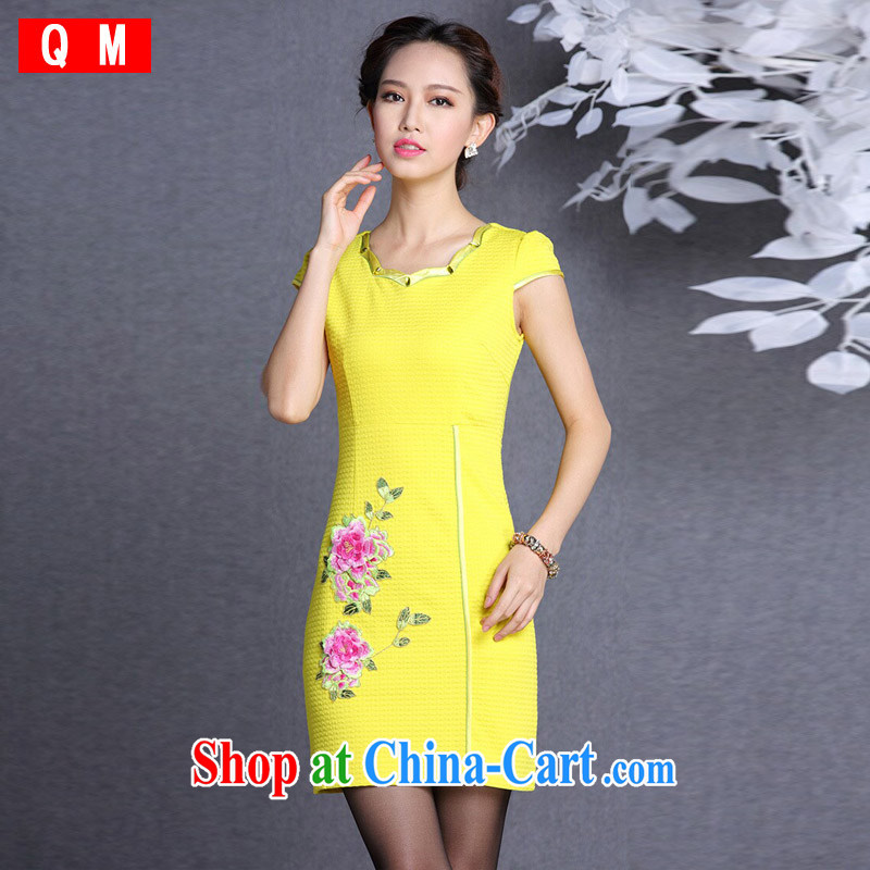 Light (at the end QM) Improved stylish embroidered simple short cheongsam dress female XWGQF 826 - 1 picture color XXL
