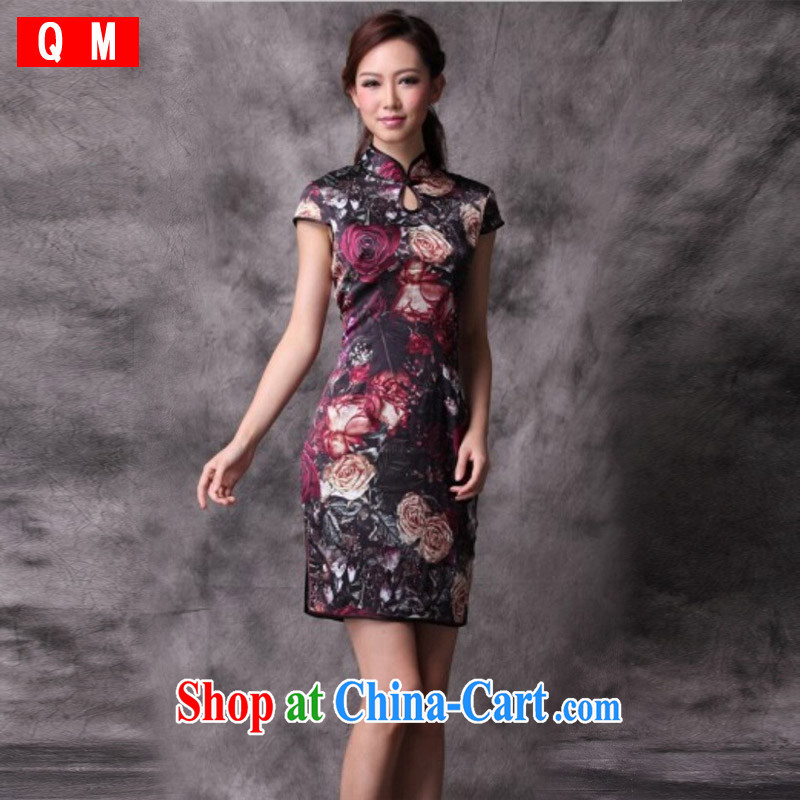 Light (at the end) QM silk stylish improved cheongsam summer short antique Chinese qipao XWG picture color XXL