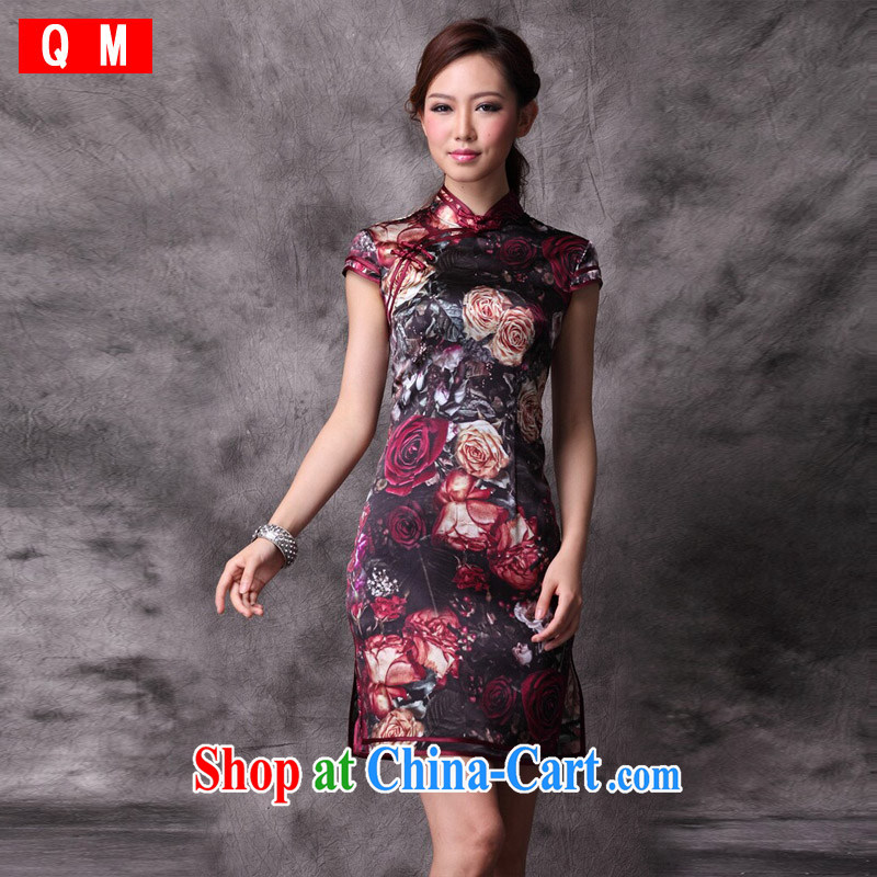 Shallow end (QM ) Stylish retro new and improved, heavy silk Chinese qipao dress summer XWG picture color XXXL