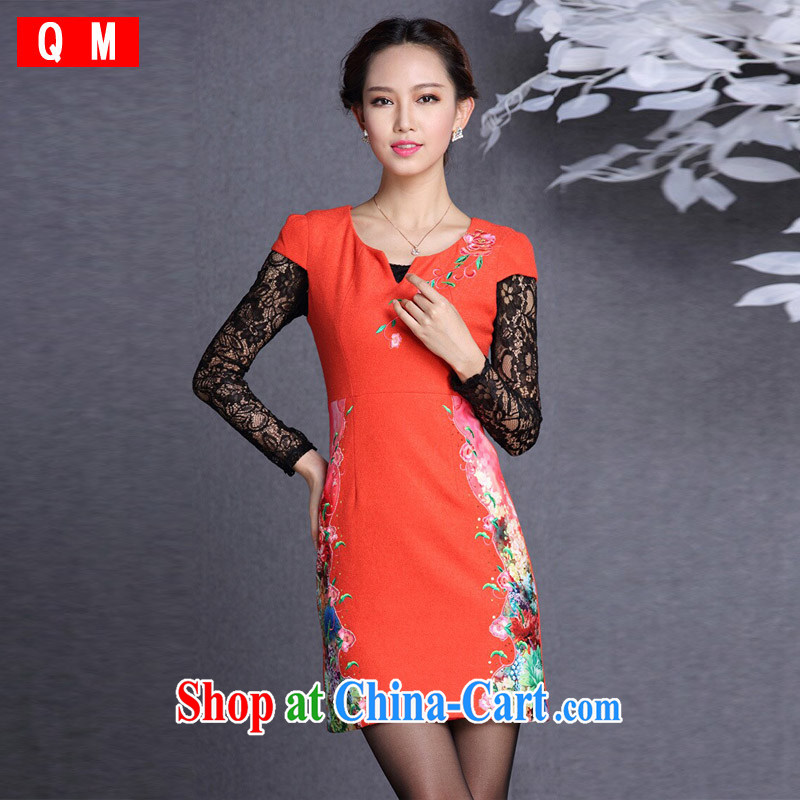 Shallow end (QM), improved stylish embroidered hair so short cheongsam XWG QF 818 red XXL
