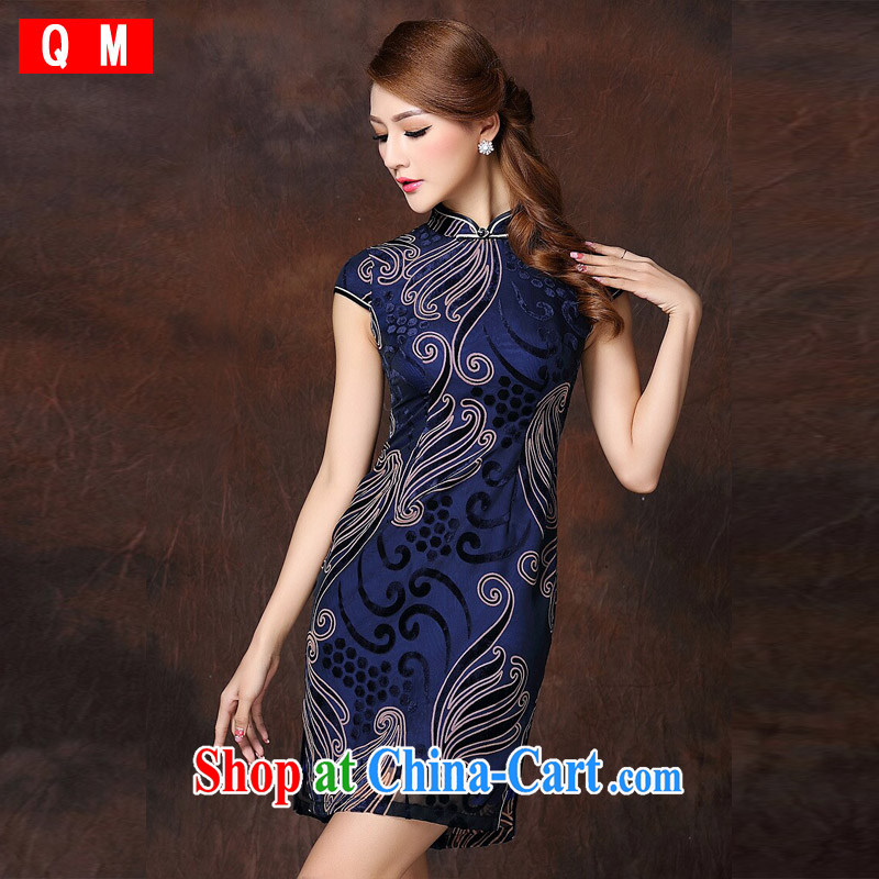 Shallow end _QM_ Improved Stylish retro-Ms. lao daily short cheongsam XWGQF 141,018 Po blue XXXL