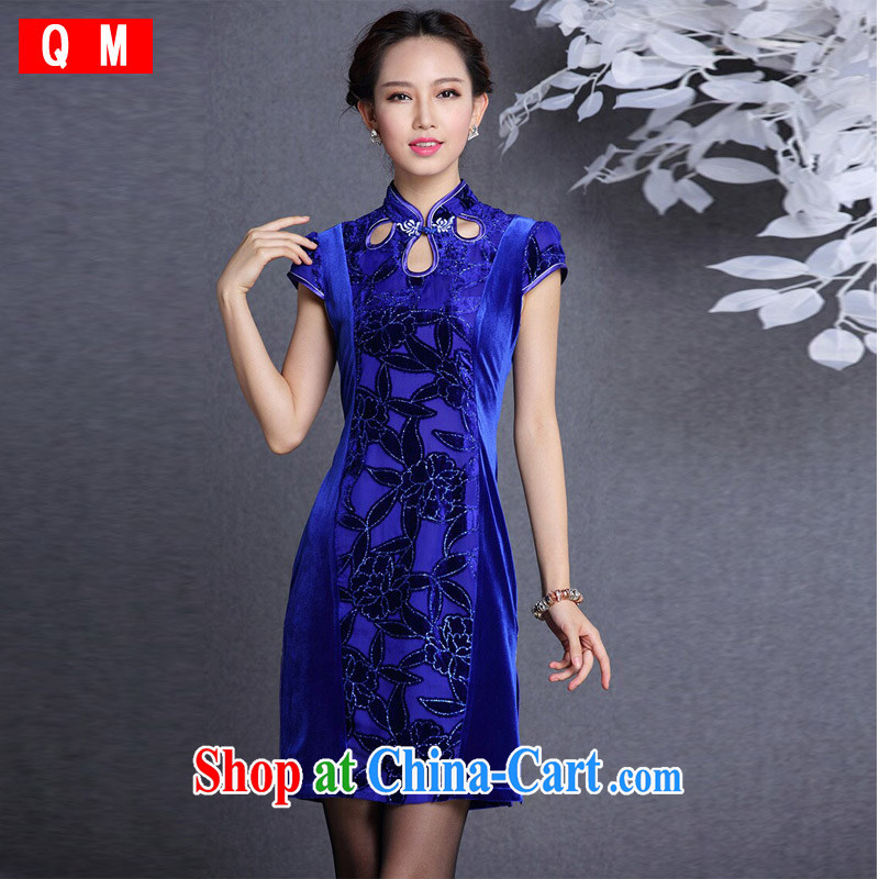 Light (at the end) QM stylish improved retro wool stitching short-sleeved short cheongsam XWGQF 1309 - 12 photo color XXL