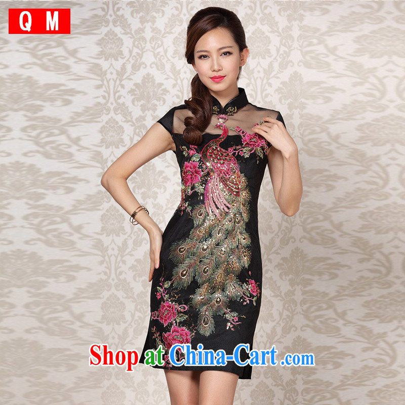 Shallow end _QM_ Improved Stylish retro Web yarn embroidery cheongsam XWGQF 13 - 6089 photo color L
