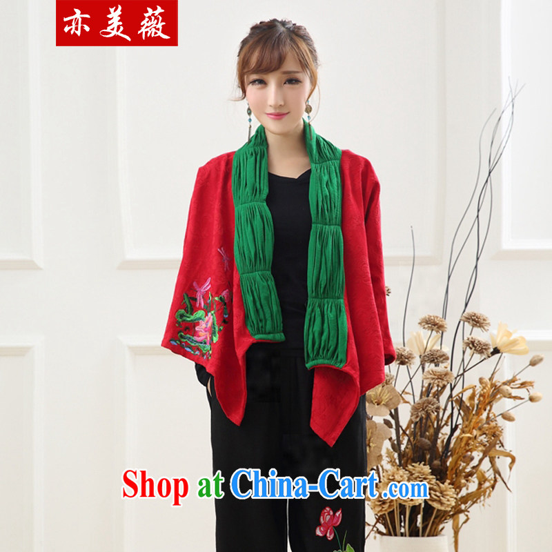 Also the US Ms Audrey EU spring 2015 new retro Ethnic Wind leave two spell scarf shawl jacket red are code