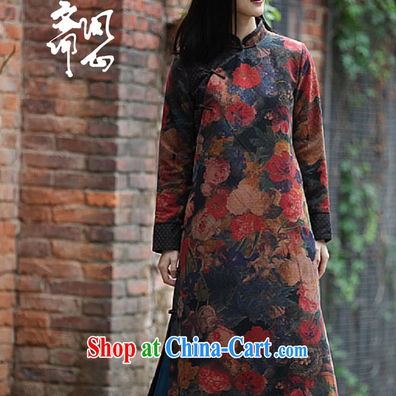 Ask a vegetarian autumn and winter clothes new elections at heart -- Hong Kong Ms. cloud yarn gown soft and beautiful long cheongsam WXZ 1019 photo color L