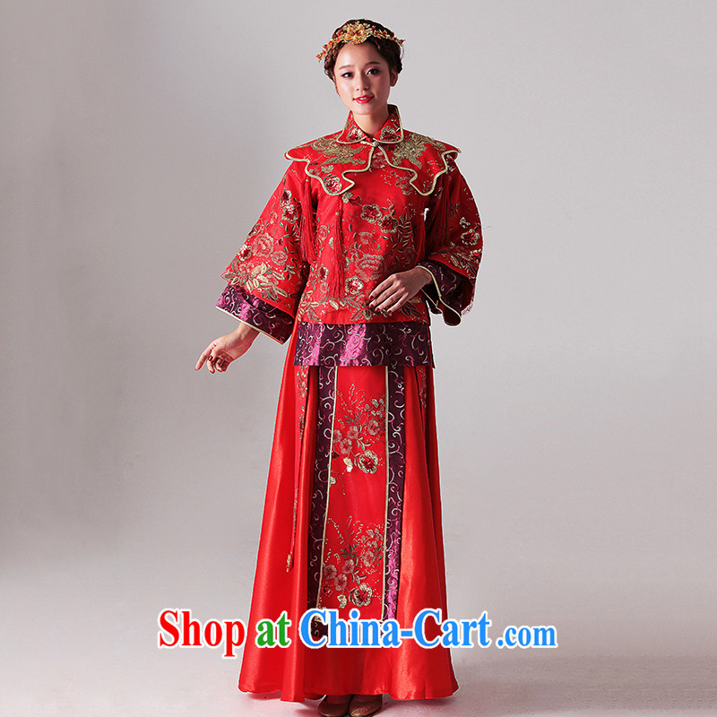 With the 2015 new wedding most Feng Chinese Embroidery-soo and the marriages of Phoenix Sau Wo service flag red XL