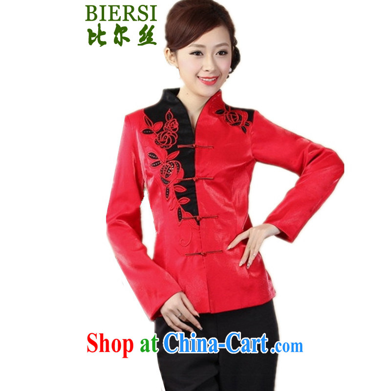 Carl Bildt, spring fashion new products Chinese T-shirt jacket, collar stitching young mothers with single buckle Tang jackets - A #3 XL
