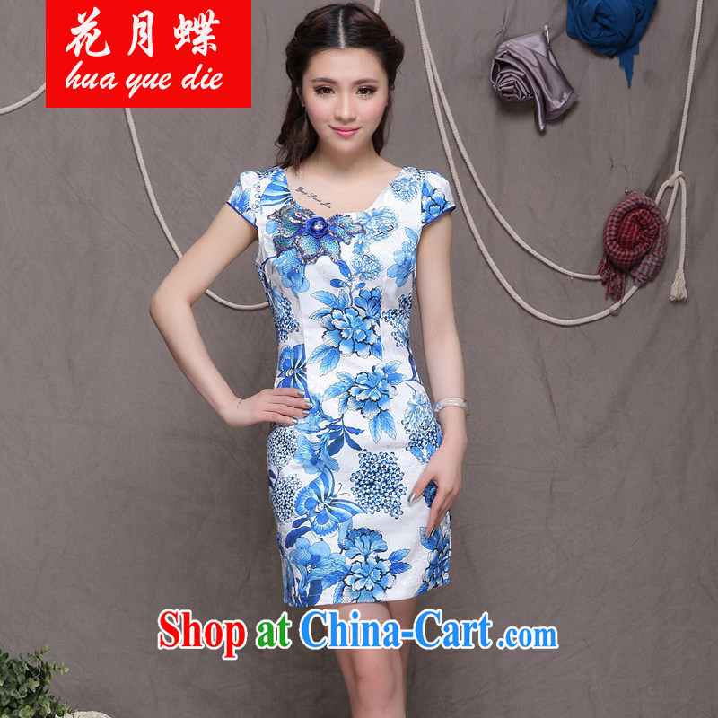 Flowers, bow embroidered cheongsam high-end ethnic wind stylish Chinese qipao dress VA R 033 9907 blue blue L
