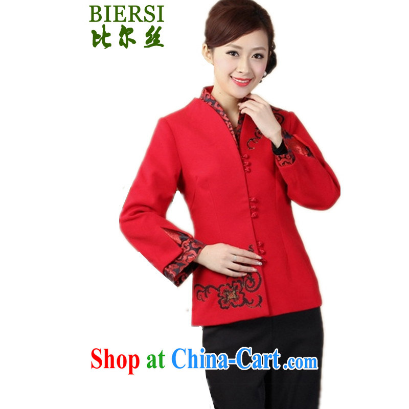 Carl Bildt, spring fashion new Chinese T-shirt, collar stitching embroidered young mothers with Tang jackets - C red 3XL