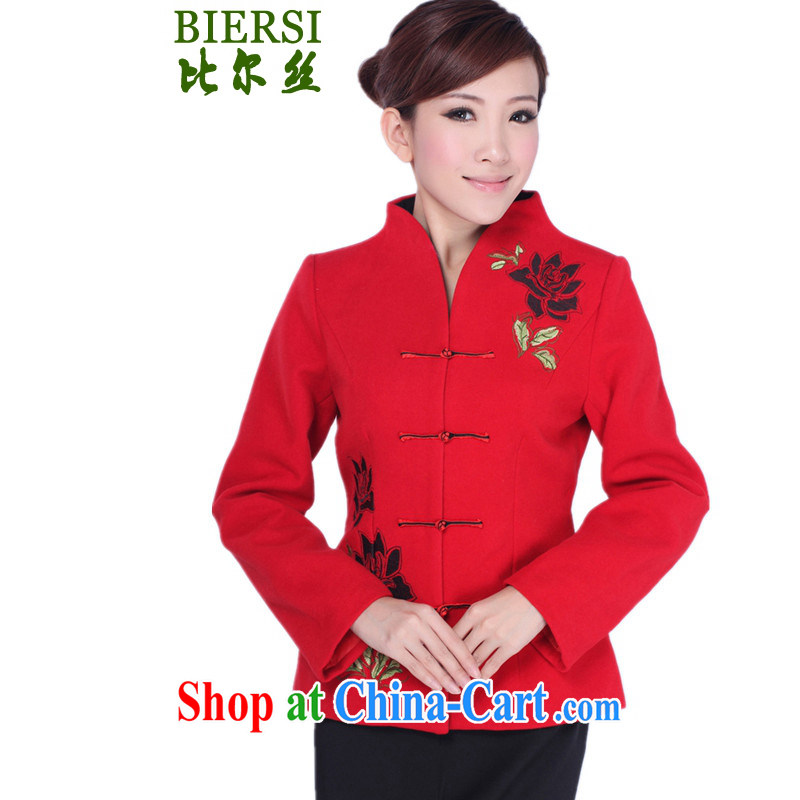 Carl Bildt, spring new stylish new ladies Chinese T-shirt, collar embroidered cultivating young mothers with Tang jackets as figure 3 XL