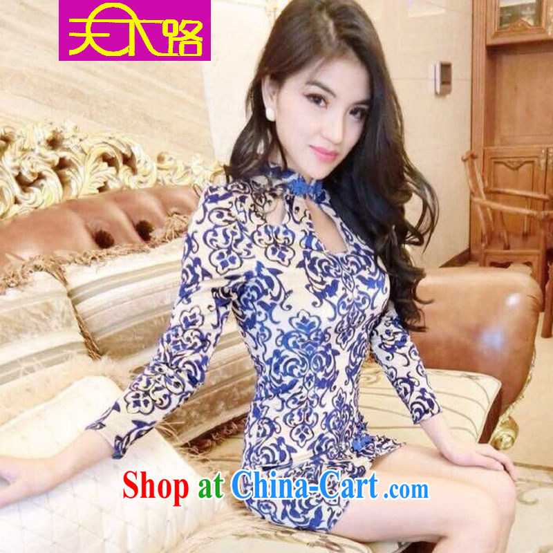world the blue and white porcelain spring 2015 retro sexy language empty long-sleeved style cheongsam dress beauty retro short elegant qipao blue?are code