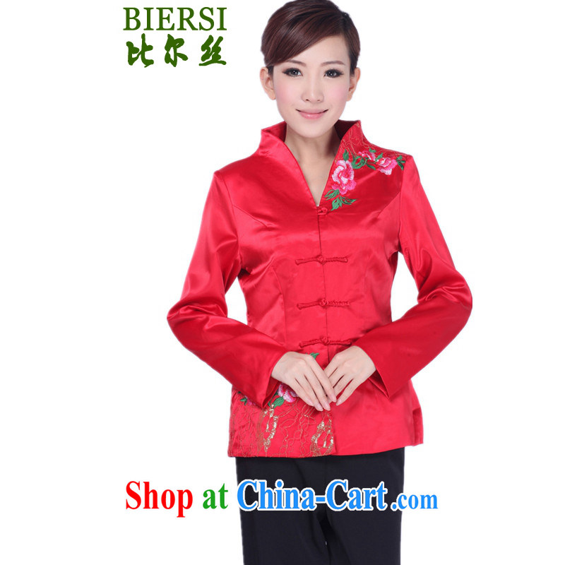 Carl Bildt, spring fashion new female Chinese T-shirt, collar embroidered mother load single row buckle Tang jackets as figure 3 XL