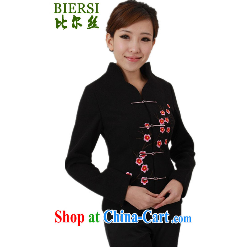 Bill's spring fashion new female Chinese T-shirt, collar embroidered hair beauty is young mothers with Tang jackets - A black 2 XL
