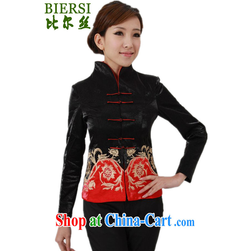 Carl Bildt, spring fashion new female Chinese T-shirt, for cultivating embroidered Tang jackets - A black 3 XL