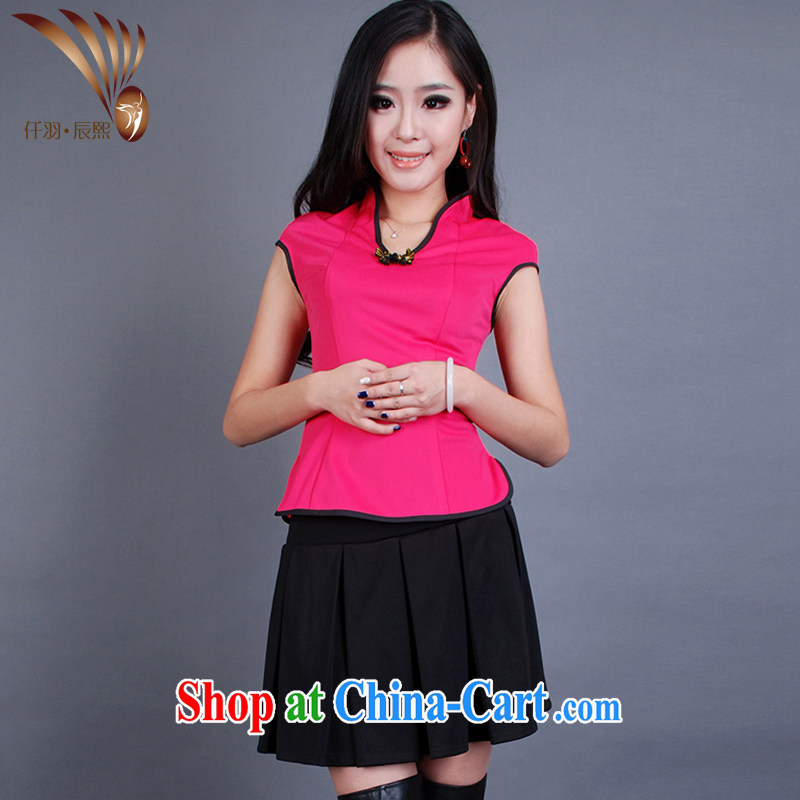 Confession Yu Jin-hee 2014 new stylish Chinese qipao pedicure technician beauty therapist clothing split two-piece T-shirt + skirt GT of 00,477 red S