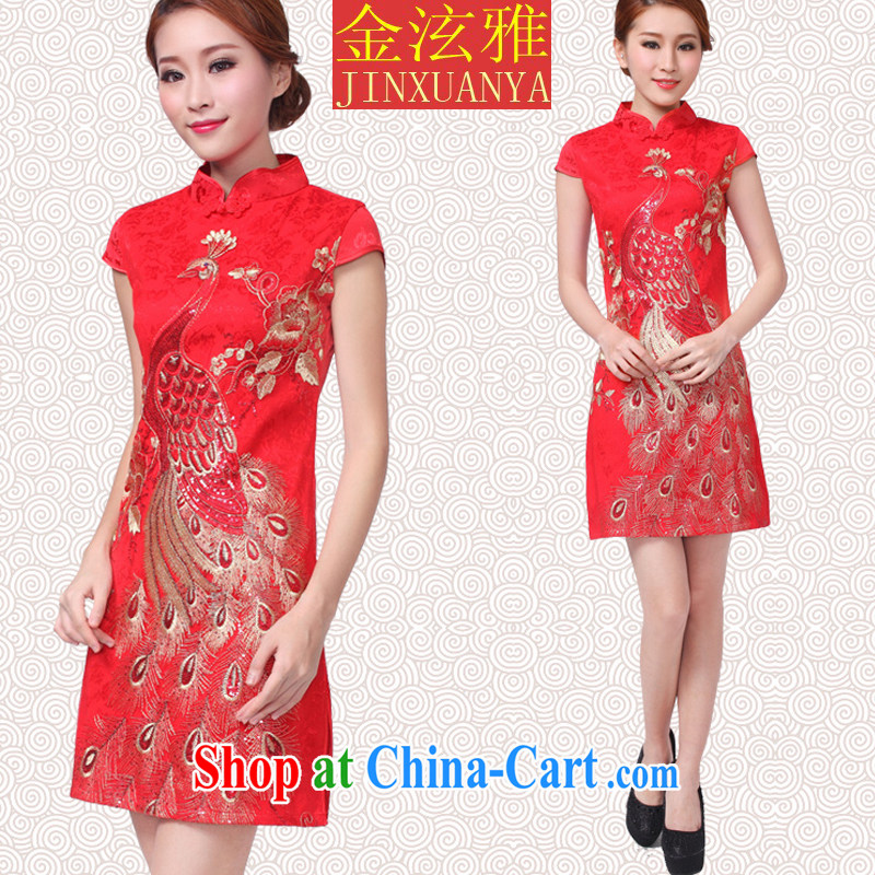 Kim Hyun-chae, 2015 new show annual wedding dress bridal wedding retro improved red toast serving short cheongsam red Peacock XS