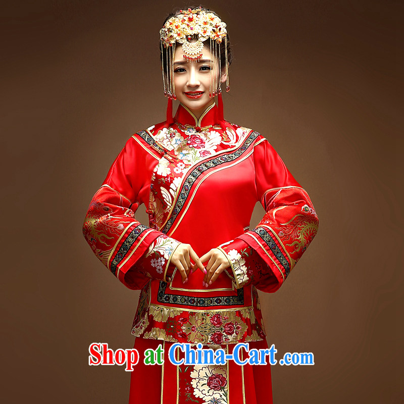 Service was good in Chinese-su Wo service wedding dress bride married Yi red toast clothing qipao Sau kimono Dragon use the red XS - years after shipment