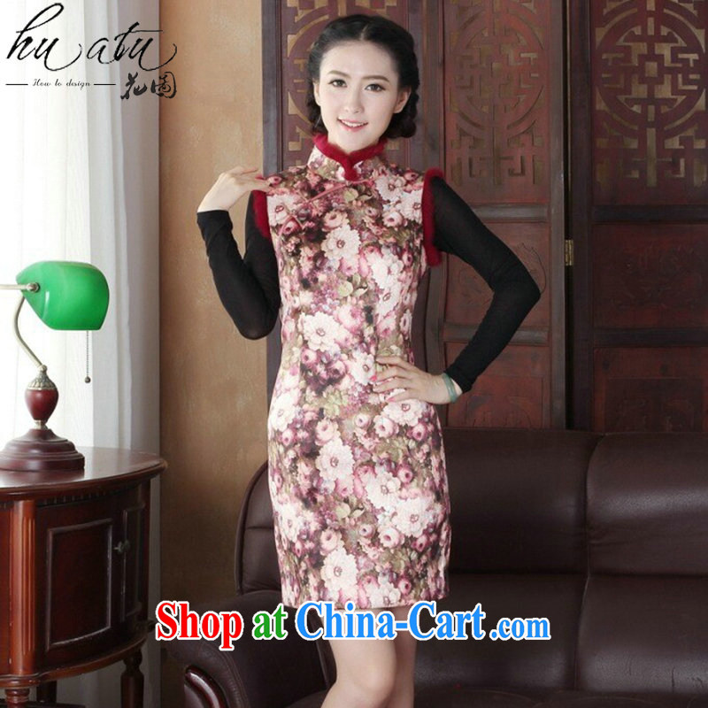 Take the cheongsam dress with short winter clothing Folder unit, for improved Stylish retro really rabbit hair collar dresses cheongsam dress 3126 3 XL