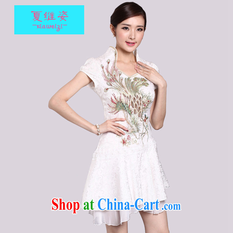 The colorful 2015 spring and summer sexy lace retro female Phoenix TV embroidery cheongsam dress improved fashion dresses 1220 wedding dress female Golden Phoenix XL