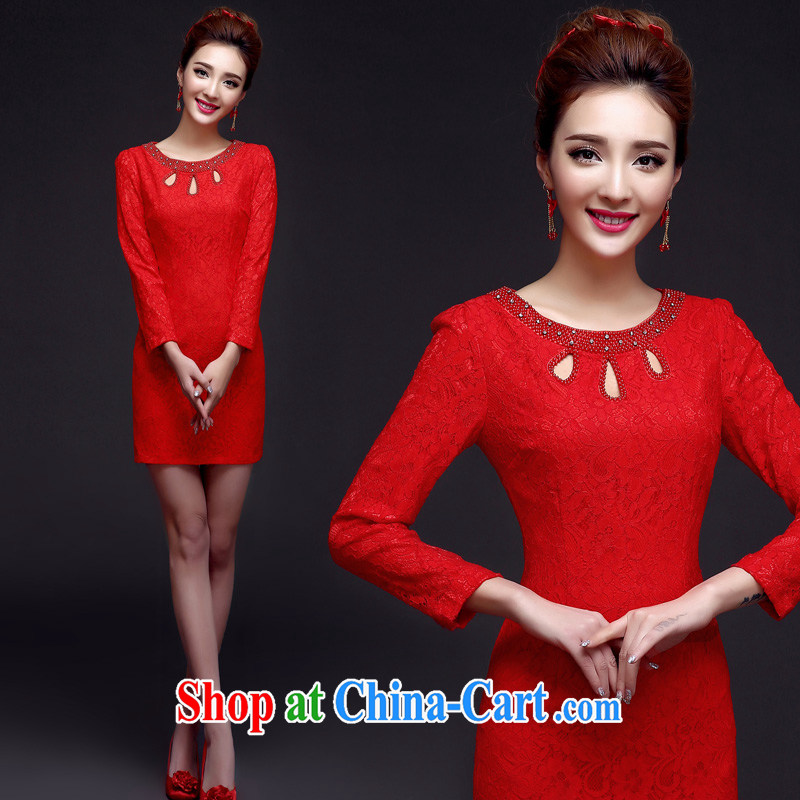 A good service is 2015 New red short bridal wedding dress toast clothing retro improved stylish dresses red 2 XL
