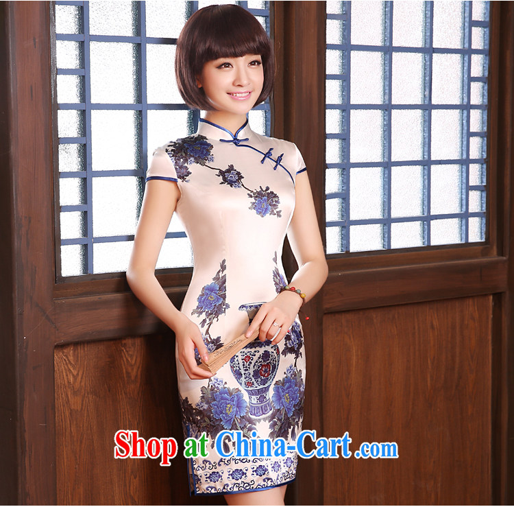 pro-am summer 2015 new improved retro short, high quality sauna silk silk porcelain was cultivating cheongsam dress blue and white porcelain 2 XL - waist 83 CM pictures, price, brand platters! Elections are good character, the national distribution, so why buy now enjoy more preferential! Health