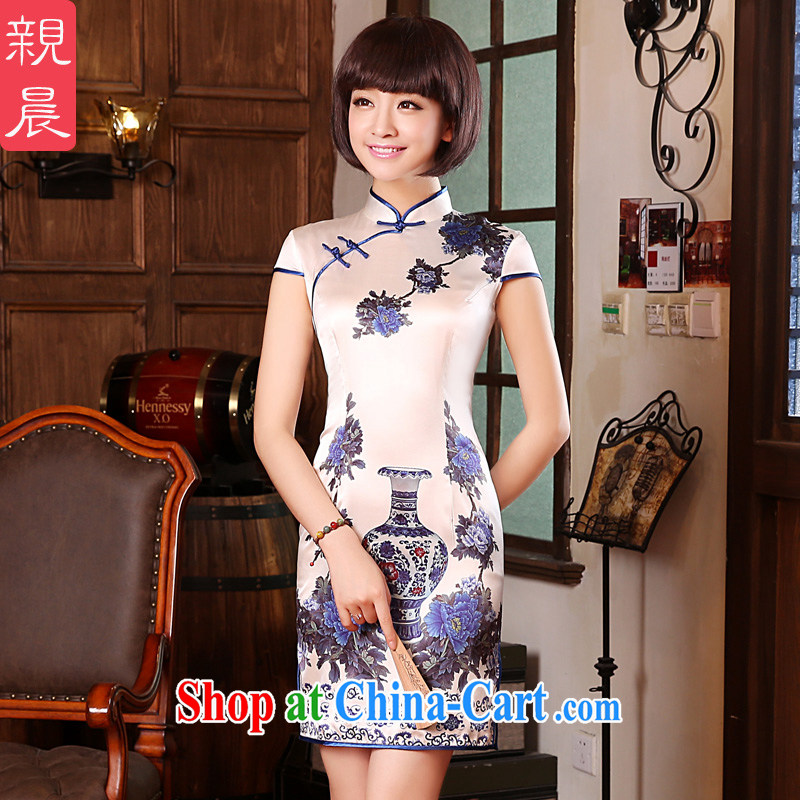 pro-am summer 2015 new improved retro short, high quality sauna silk silk porcelain was cultivating cheongsam dress blue and white porcelain 2 XL - waist 83 CM