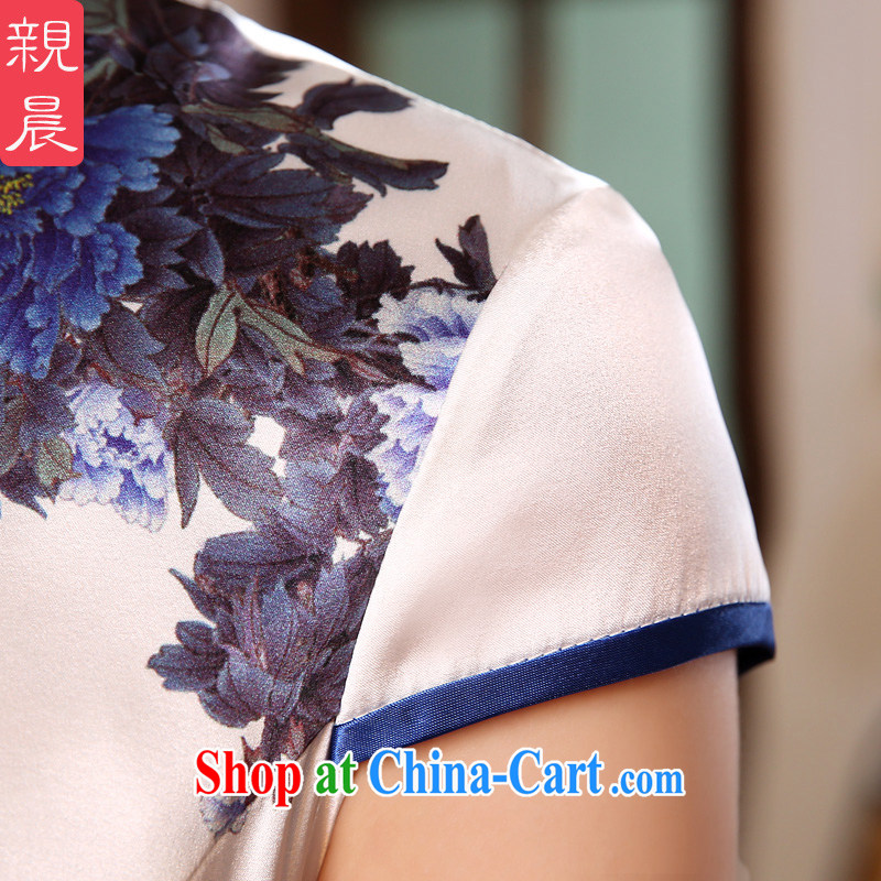 pro-am summer 2015 new improved retro short, high quality sauna silk silk blue and white porcelain beauty cheongsam dress blue and white porcelain 2 XL - waist 83cm, the pro-am, shopping on the Internet