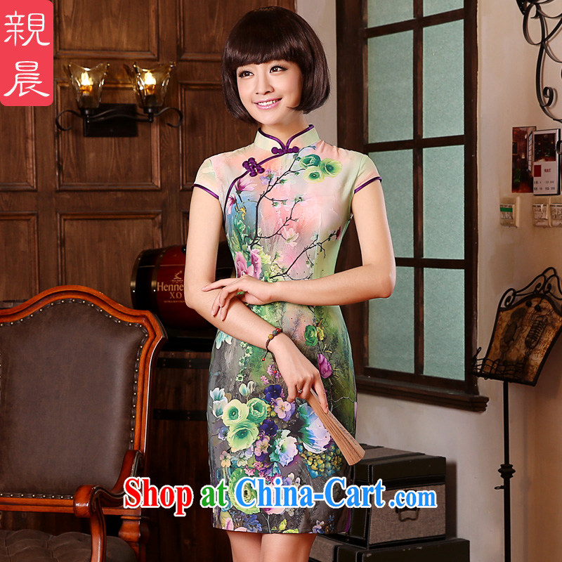 The pro-am 2015 as soon as possible new Natural silk sauna silk short-retro beauty everyday dresses dresses short-sleeved 2XL - waist 77 CM