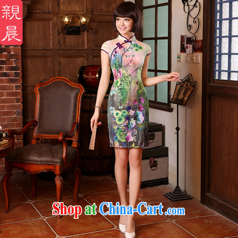 The pro-am 2015 as soon as possible new Natural silk, silk short-retro beauty everyday dresses dresses short-sleeved 2XL - waist 77 cm, and the pro-am, shopping on the Internet