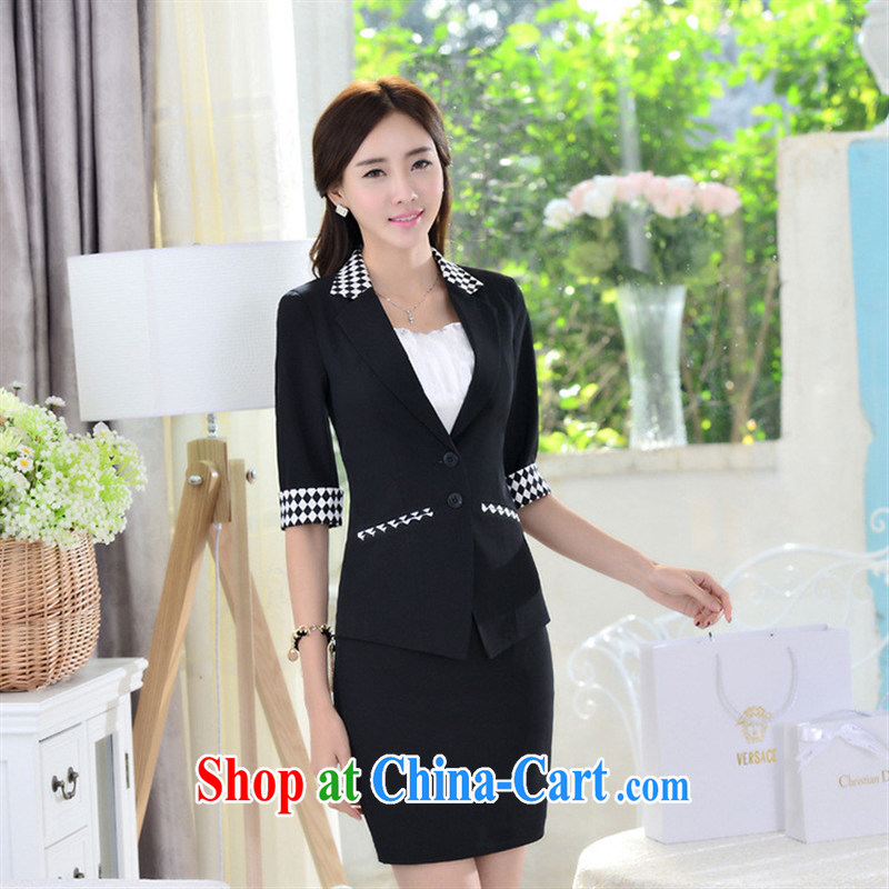 2015 spring and summer new grid in Ms. cuff suits professional women suits welcome you to order 805 _ Black + skirt _104 XXXL