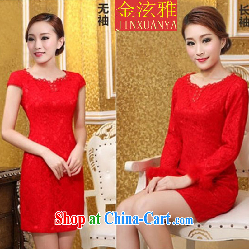 Kim Hyun-chae, 2015 bridal wedding dress retro improved stylish summer short red bows clothes qipao cheongsam dress red short-sleeved shirt XXL