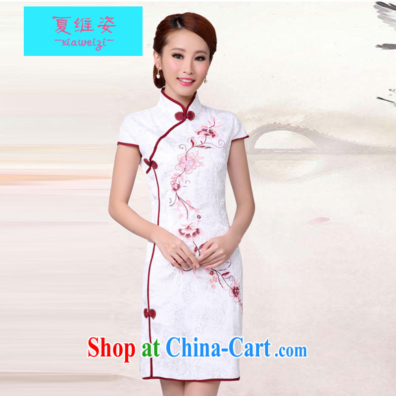 The colorful 2015 new white cheongsam dress stylish improved Chinese qipao cheongsam qipao qipao improved cheongsam dress shirt white XL