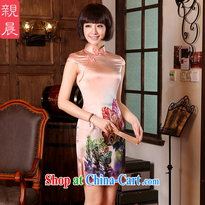 pro-am summer 2015 new upscale sauna silk silk retro ethnic wind beauty short cheongsam dress short-sleeved M - waist 73 CM