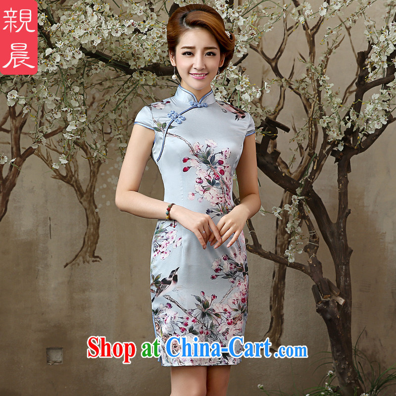 The pro-am 2015 as soon as possible new daily summer girls retro improved sauna stylish Silk Dresses Silk Cheongsam dress short-sleeved S - waist 67 CM