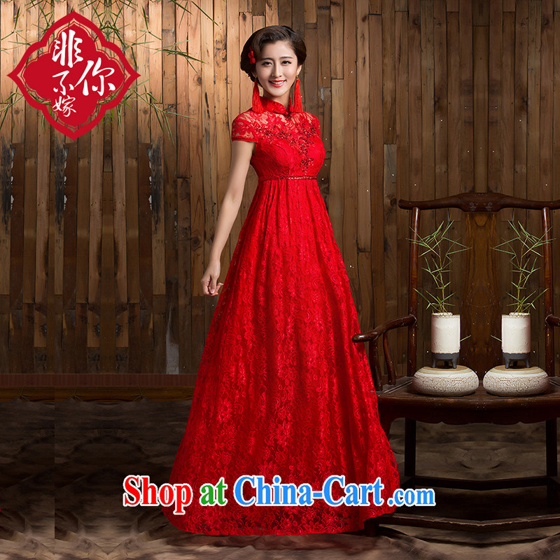 2014 new wedding dresses retro high waist pregnant women larger Chinese red toast serving long winter bride dress red 2 XL