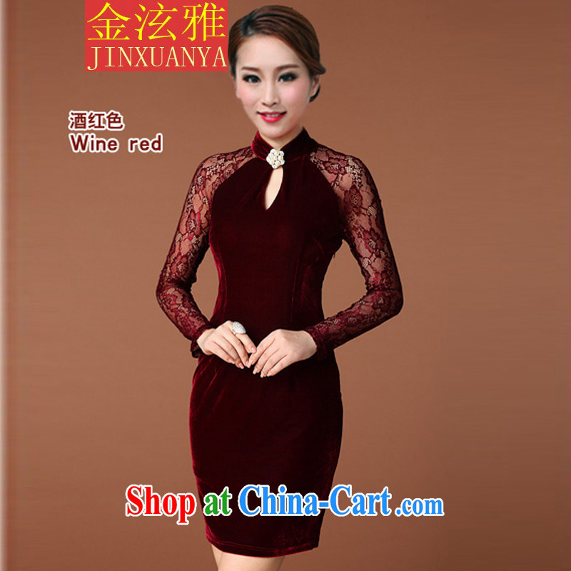 Kim Hyun-chae, 2015 autumn and winter, the United States and Europe of Yuan wind OL retro dresses lace spell receive waist dresses red XL