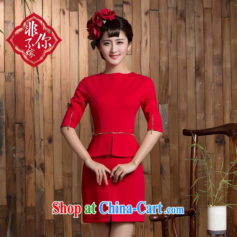 2014 new autumn and winter clothing toast wedding bridal short sleek beauty red dresses marriage back door red 2 XL