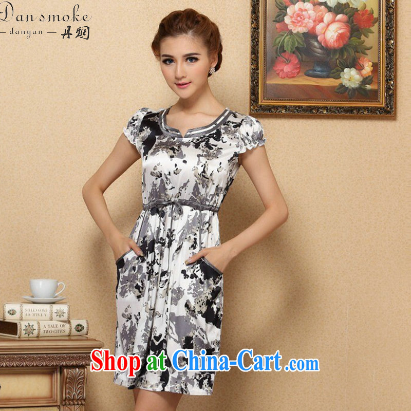 Take the female summer graphics thin dresses elegant sauna Silk Cheongsam improved short-sleeved upscale Silk Dresses such as the color 2 XL