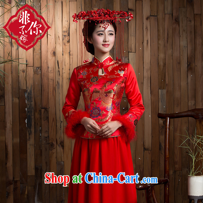 2014 new toast clothing winter long, long-sleeved retro red thick Chinese wedding dresses bridal dresses red 2 XL