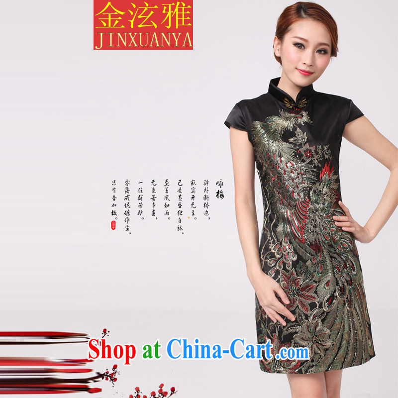 Kim Hyun-chae, 2015 new Peacock hot Peacock embroidery cheongsam festive wedding dresses mother improved black XL