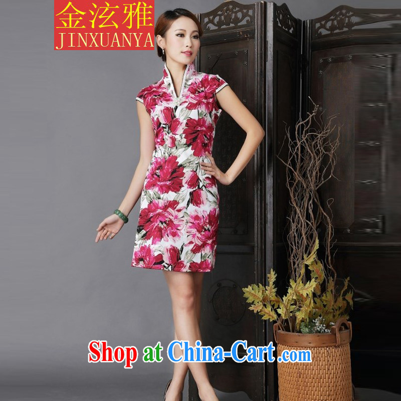 Kim Hyun-chae, 2015 New floral cheongsam dress stylish improved Chinese qipao fancy XL