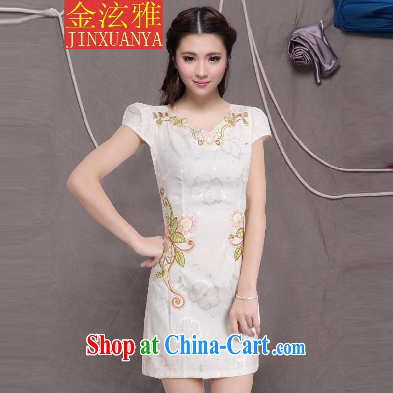 Kim Hyun-chae, 2015 new, improved female cheongsam dress fashion style retro beauty everyday dresses short dresses, pale yellow XXL
