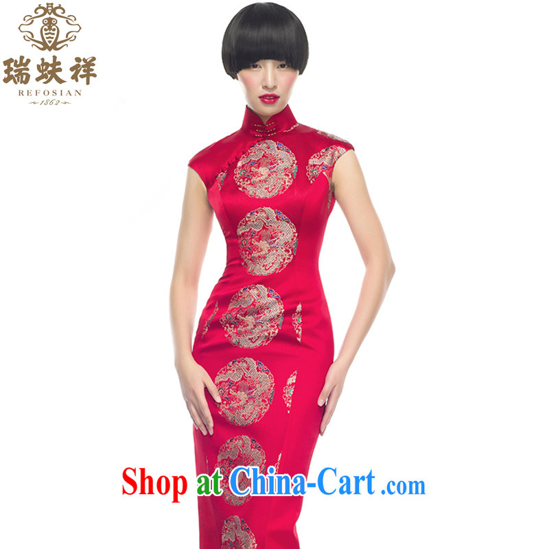 Ryan and Eric LI, genuine antique brocade coverlets long cheongsam shell cuff South Dragon Pearl flower cultivation red L