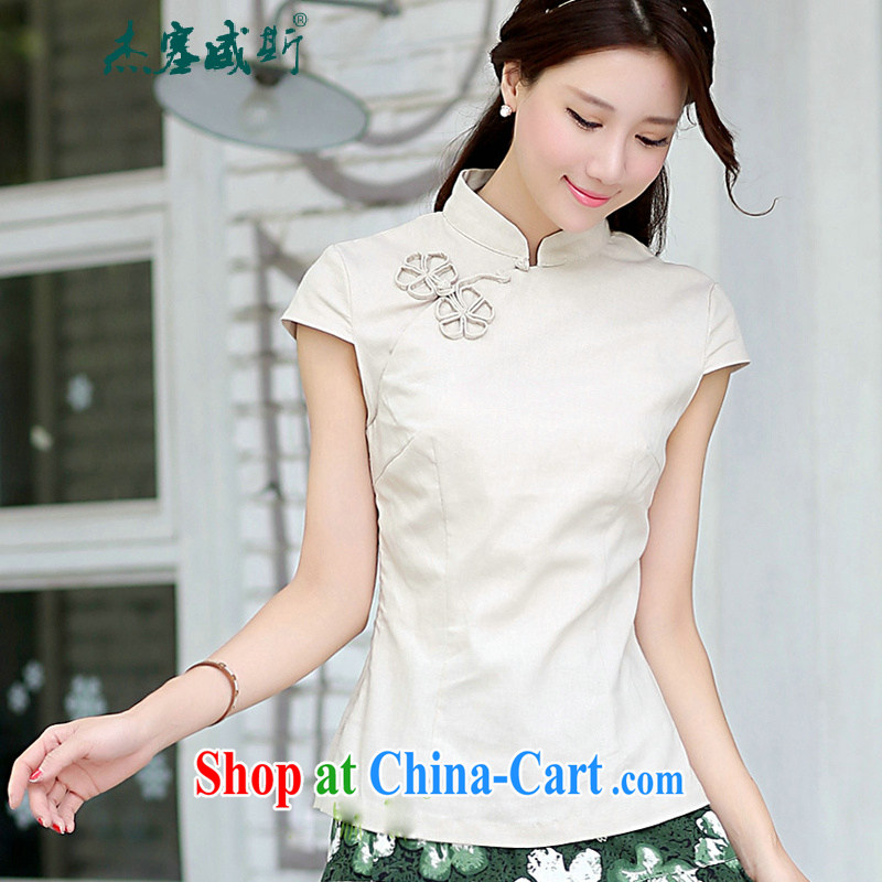 Jack Plug, spring and summer new Ethnic Wind Han-female improved cheongsam shirt short-sleeved cotton Ms. Yau Ma Tei Chinese shirt beige Yuanyang flower M