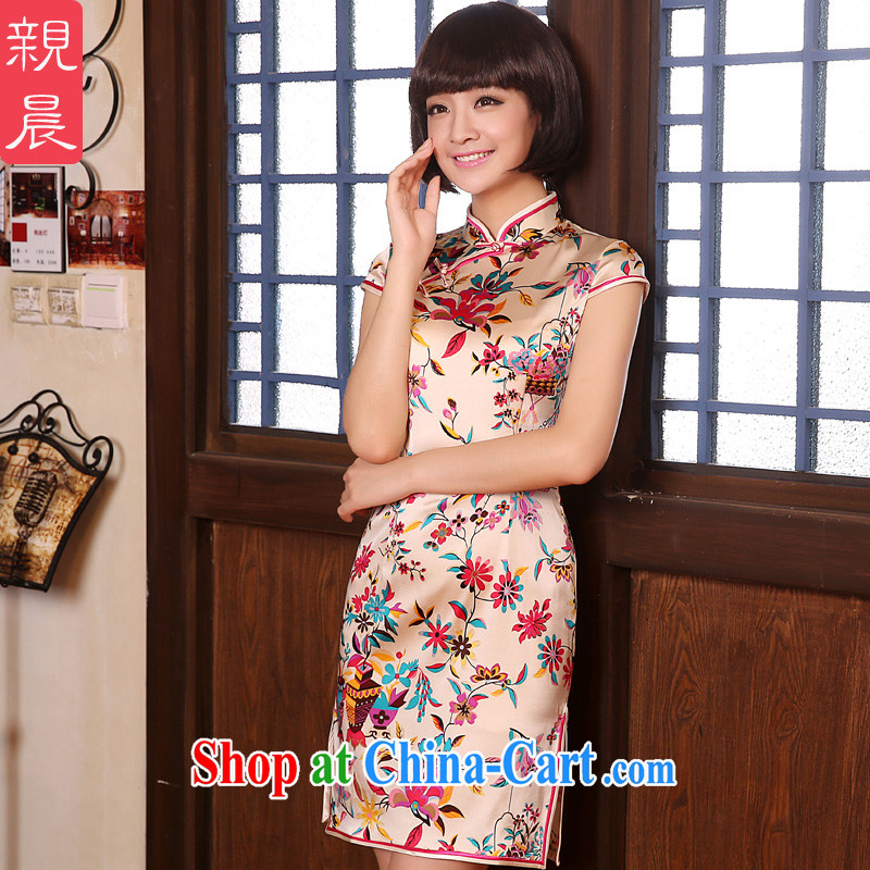 The pro-am 2015 as soon as possible new summer-day short dos Santos, silk Natural silk retro beauty cheongsam dress short-sleeved L - waist 77cm - 15 day shipping