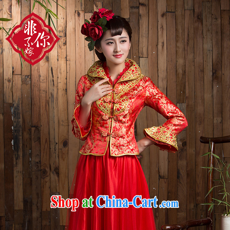 Non-you are not married 2014 new bride toast service beauty red winter clothes wedding dresses long Chinese Dress red 2 XL