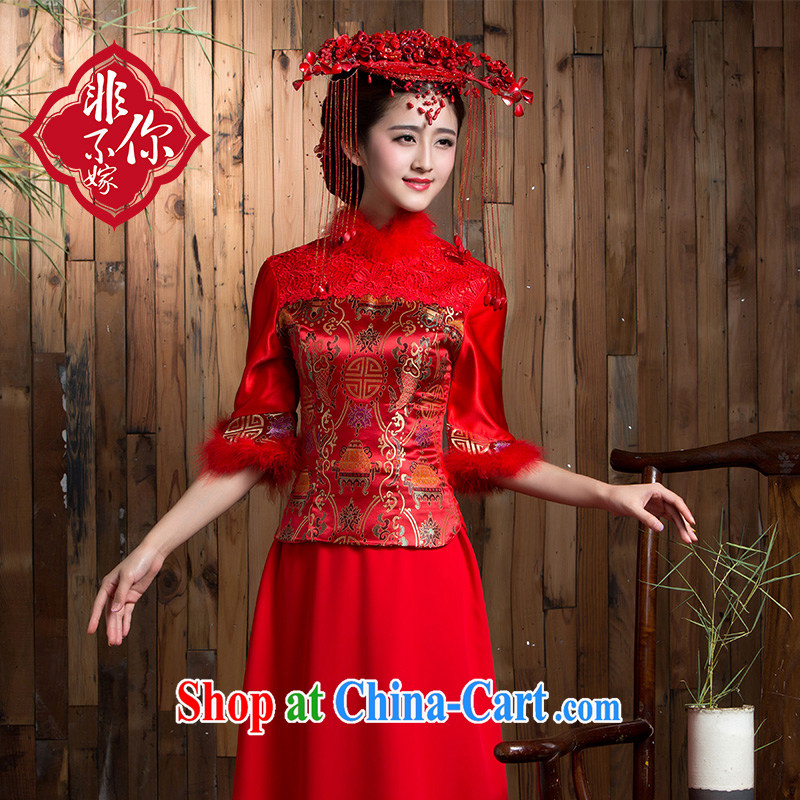 2014 new bride toast service beauty red winter clothes 7 cuff marriage dresses long antique Chinese Dress red 2 XL